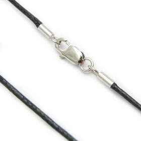 Necklace cord cotton wax cord sterling silver clasp