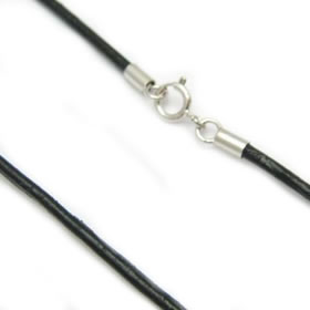Necklace cord leather sterling silver clasp