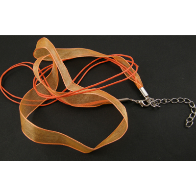 Organza ribbon-wax cotton necklace