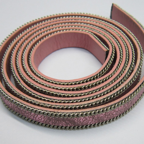 Flat leather with chain 15x2mm
