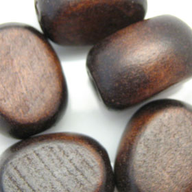 Flat oval bead wood